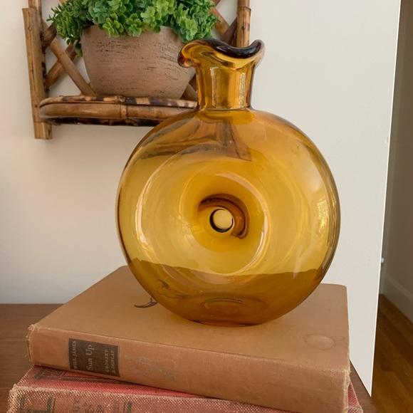 Vintage Amber Glass Donut Vase